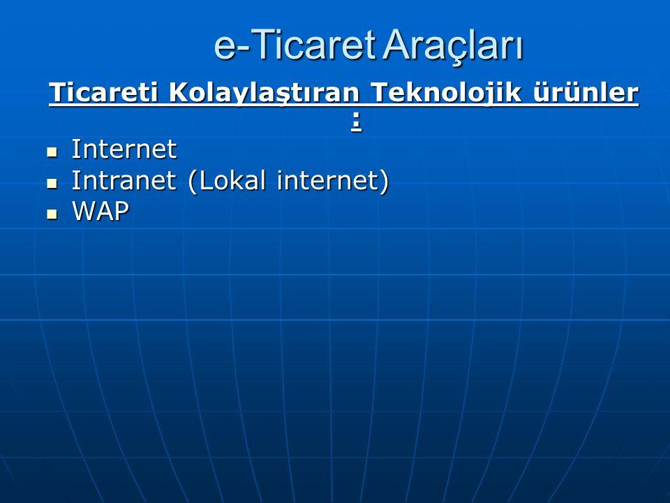 e-Ticaret Araçları Ticareti Kolaylaştıran Teknolojik ürünler : Internet Internet Intranet (Lokal internet) Intranet (Lokal internet) WAP WAP