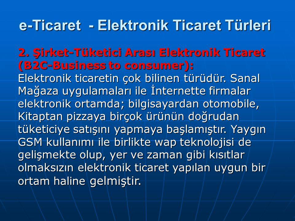 2. Şirket-Tüketici Arası Elektronik Ticaret (B2C-Business to consumer): Elektronik ticaretin çok bilinen türüdür. Sanal Mağaza uygulamaları ile İntern