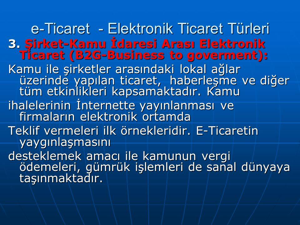 3. Şirket-Kamu İdaresi Arası Elektronik Ticaret (B2G-Business to goverment): Kamu ile şirketler arasındaki lokal ağlar üzerinde yapılan ticaret, haber