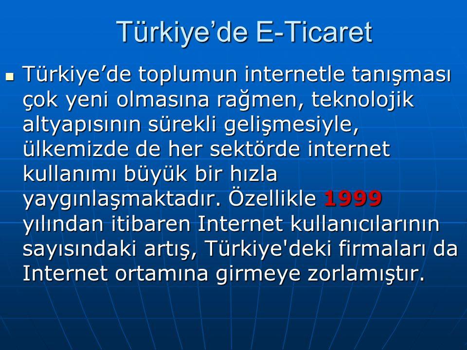 Türkiye'de E-Ticaret Türkiye'de toplumun internetle tanışması çok yeni olmasına rağmen, teknolojik altyapısının sürekli gelişmesiyle, ülkemizde de her