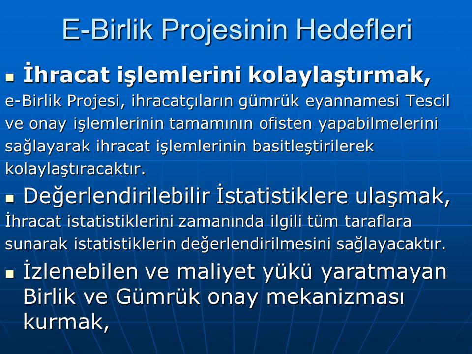 E-Birlik Projesinin Hedefleri İhracat işlemlerini kolaylaştırmak, İhracat işlemlerini kolaylaştırmak, e-Birlik Projesi, ihracatçıların gümrük eyanname