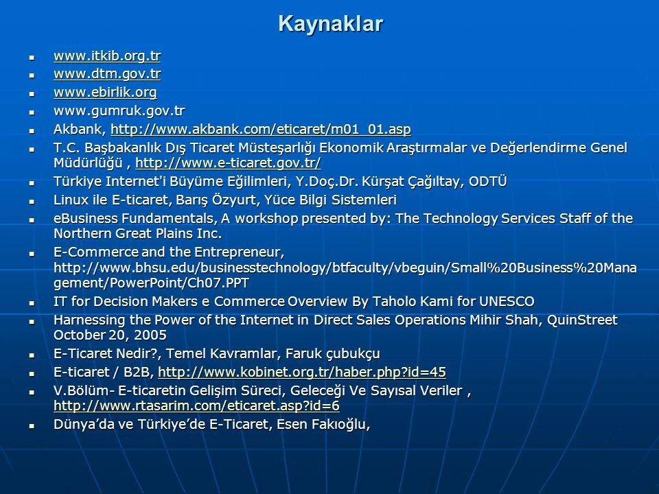Kaynaklar www.itkib.org.tr www.itkib.org.tr www.itkib.org.tr www.dtm.gov.tr www.dtm.gov.tr www.dtm.gov.tr www.ebirlik.org www.ebirlik.org www.ebirlik.