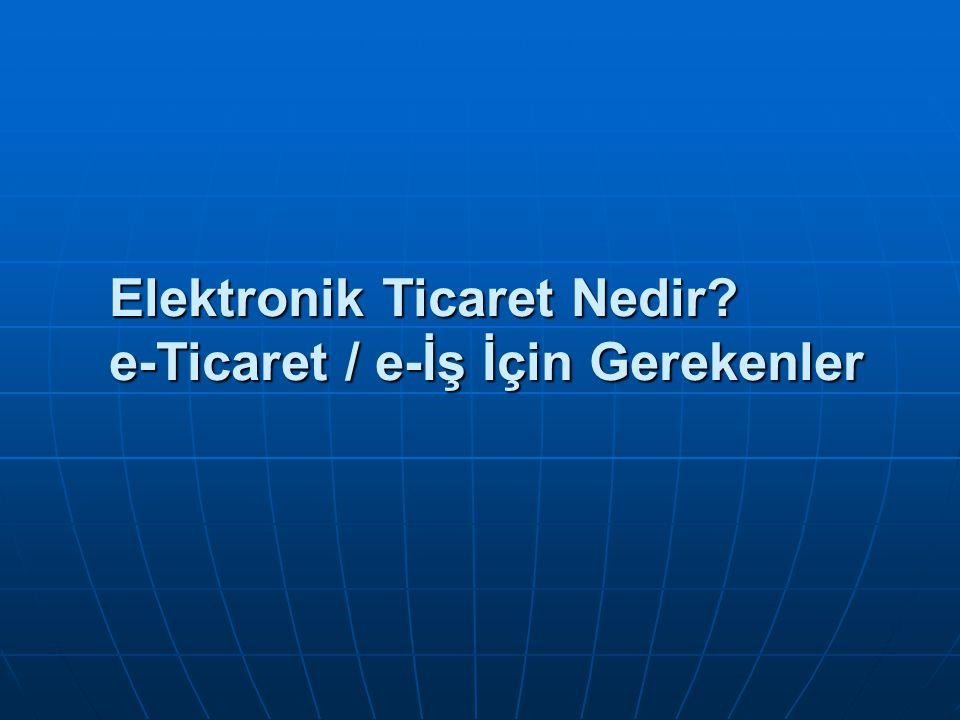Kaynaklar www.itkib.org.tr www.itkib.org.tr www.itkib.org.tr www.dtm.gov.tr www.dtm.gov.tr www.dtm.gov.tr www.ebirlik.org www.ebirlik.org www.ebirlik.org www.gumruk.gov.tr www.gumruk.gov.tr Akbank, http://www.akbank.com/eticaret/m01_01.asp Akbank, http://www.akbank.com/eticaret/m01_01.asphttp://www.akbank.com/eticaret/m01_01.asp T.C.