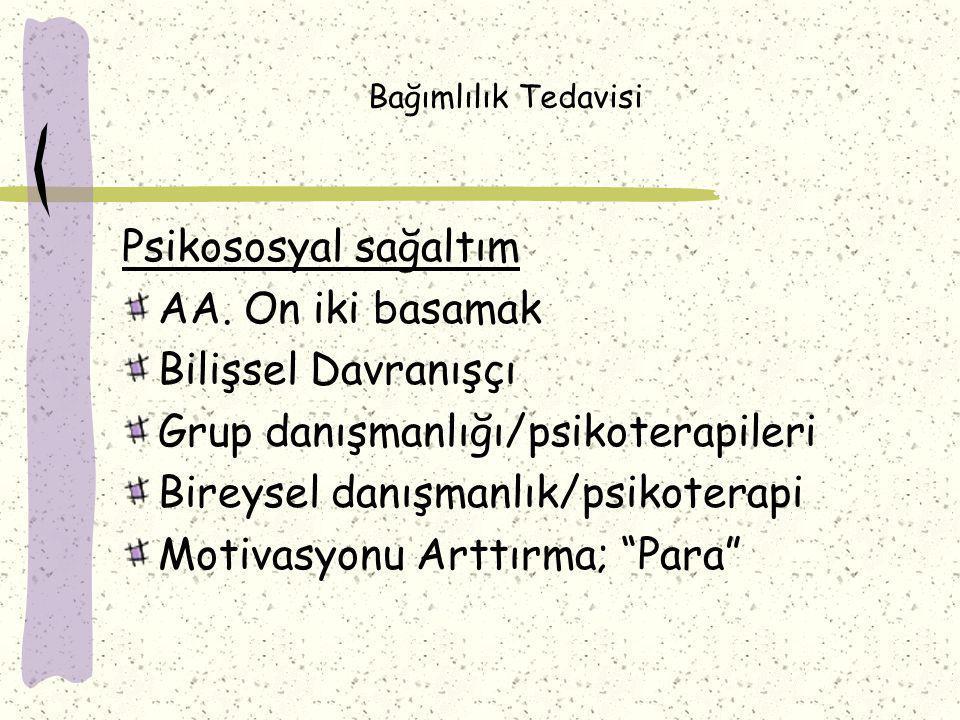 Bağımlılık Tedavisi Psikososyal sağaltım AA.