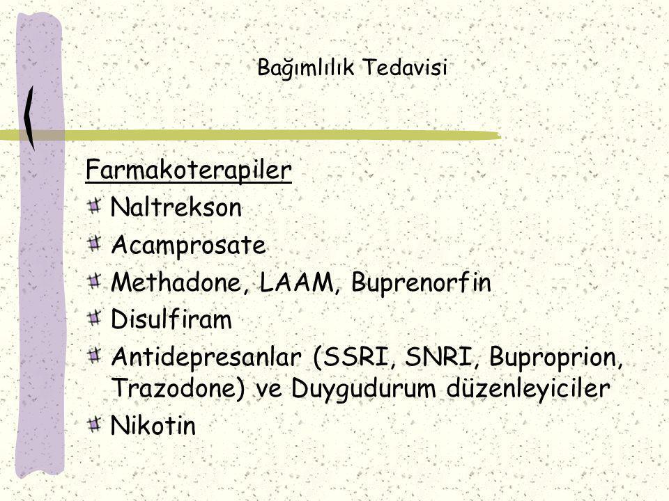 Bağımlılık Tedavisi Farmakoterapiler Naltrekson Acamprosate Methadone, LAAM, Buprenorfin Disulfiram Antidepresanlar (SSRI, SNRI, Buproprion, Trazodone) ve Duygudurum düzenleyiciler Nikotin