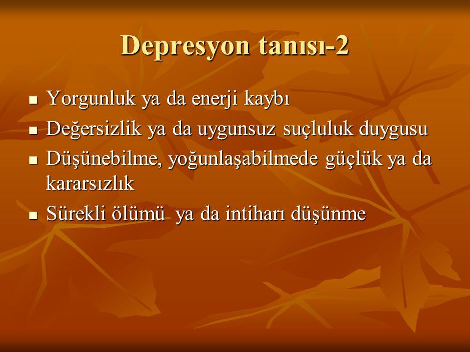 Depresyon tanısı-2 Yorgunluk ya da enerji kaybı Yorgunluk ya da enerji kaybı Değersizlik ya da uygunsuz suçluluk duygusu Değersizlik ya da uygunsuz su
