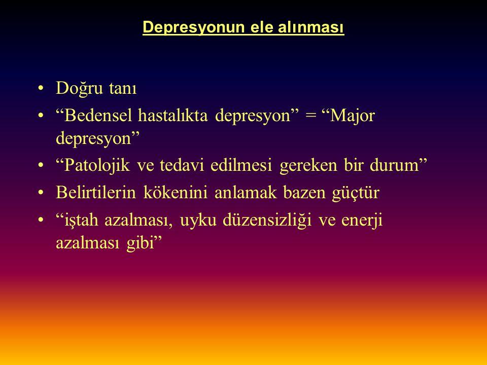 """Depresyonun ele alınması Doğru tanı """"Bedensel hastalıkta depresyon"""" = """"Major depresyon"""" """"Patolojik ve tedavi edilmesi gereken bir durum"""" Belirtilerin"""