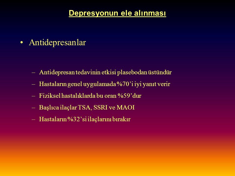 Depresyonun ele alınması Antidepresanlar –Antidepresan tedavinin etkisi plasebodan üstündür –Hastaların genel uygulamada %70'i iyi yanıt verir –Fiziks