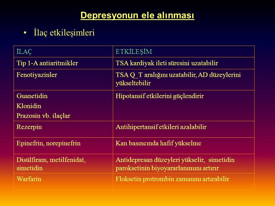 Depresyonun ele alınması İlaç etkileşimleri İLAÇETKİLEŞİM Tip 1-A antiaritmiklerTSA kardiyak ileti süresini uzatabilir FenotiyazinlerTSA Q_T aralığını