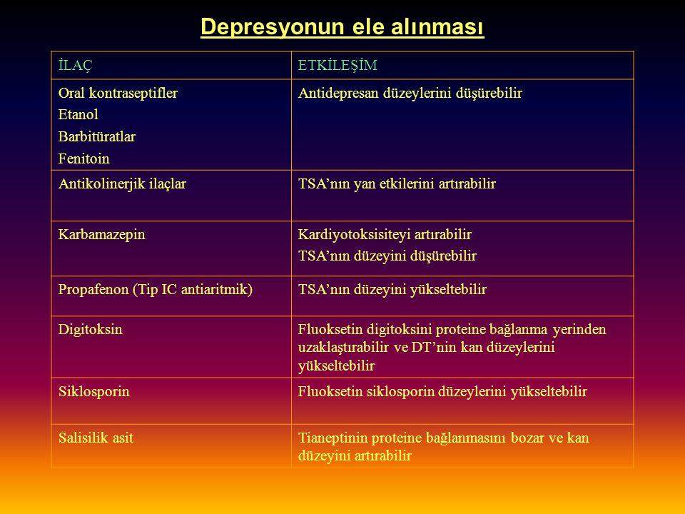 Depresyonun ele alınması İLAÇETKİLEŞİM Oral kontraseptifler Etanol Barbitüratlar Fenitoin Antidepresan düzeylerini düşürebilir Antikolinerjik ilaçlarT