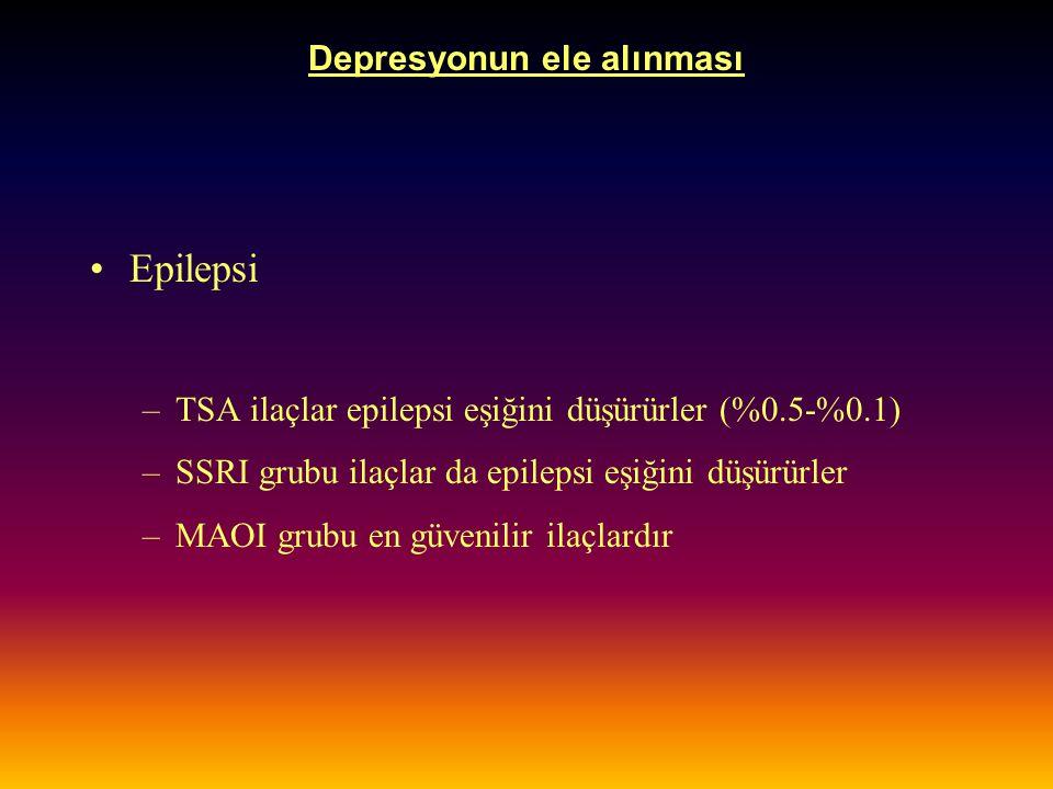 Depresyonun ele alınması Epilepsi –TSA ilaçlar epilepsi eşiğini düşürürler (%0.5-%0.1) –SSRI grubu ilaçlar da epilepsi eşiğini düşürürler –MAOI grubu