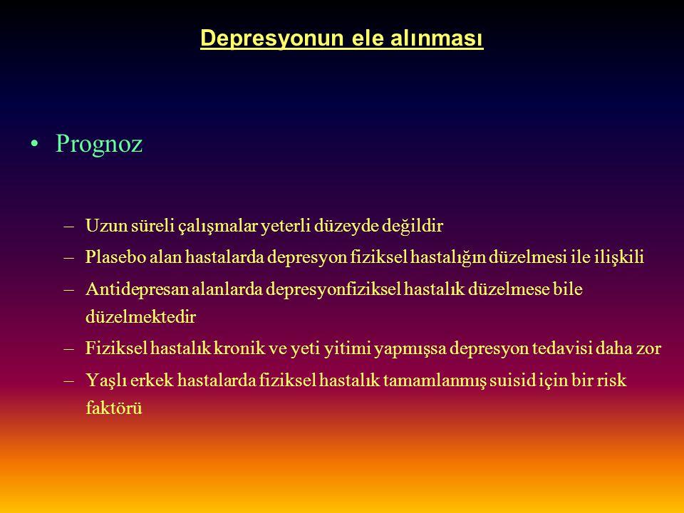 Depresyonun ele alınması Prognoz –Uzun süreli çalışmalar yeterli düzeyde değildir –Plasebo alan hastalarda depresyon fiziksel hastalığın düzelmesi ile