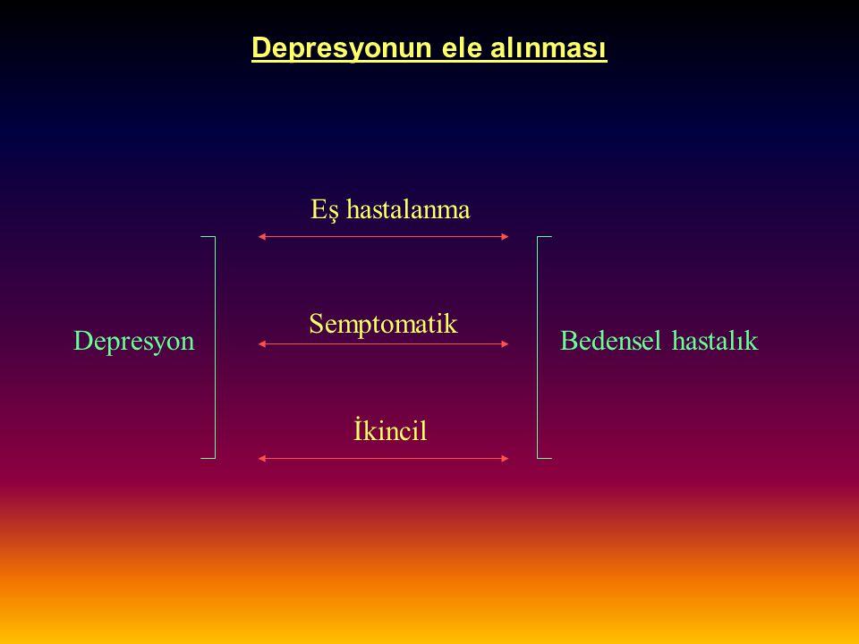 Depresyonun ele alınması İlaç etkileşimleri İLAÇETKİLEŞİM Tip 1-A antiaritmiklerTSA kardiyak ileti süresini uzatabilir FenotiyazinlerTSA Q_T aralığını uzatabilir, AD düzeylerini yükseltebilir Guanetidin Klonidin Prazosin vb.