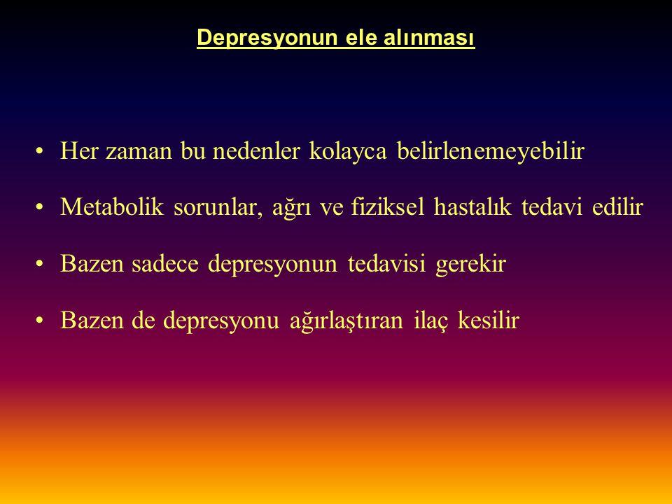 Depresyonun ele alınması Bedensel hastalıkta depresyon tedavisi; –Karmaşıktır, –Tanısal sınıflandırma, genel tıp, psikiyatri, psikofarmakoloji ve psikoterapi konularında bir yaklaşım ve kavrayış gerekir.