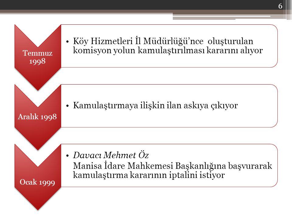 Temmuz 1998 Köy Hizmetleri İl Müdürlüğü'nce oluşturulan komisyon yolun kamulaştırılması kararını alıyor Aralık 1998 Kamulaştırmaya ilişkin ilan askıya