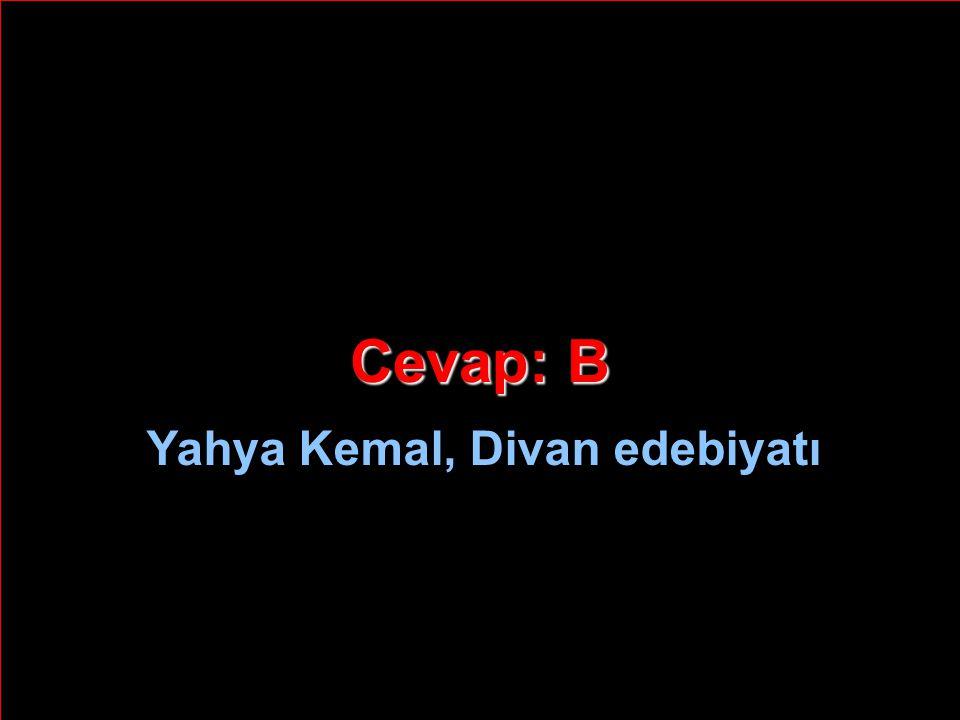 Cevap: B Yahya Kemal, Divan edebiyatı