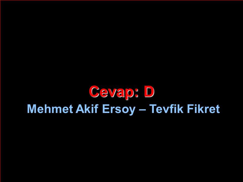 Cevap: D Mehmet Akif Ersoy – Tevfik Fikret