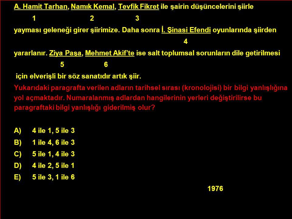A. Hamit Tarhan, Namık Kemal, Tevfik Fikret ile şairin düşüncelerini şiirle 1 2 3 yayması geleneği girer şiirimize. Daha sonra İ. Şinasi Efendi oyunla