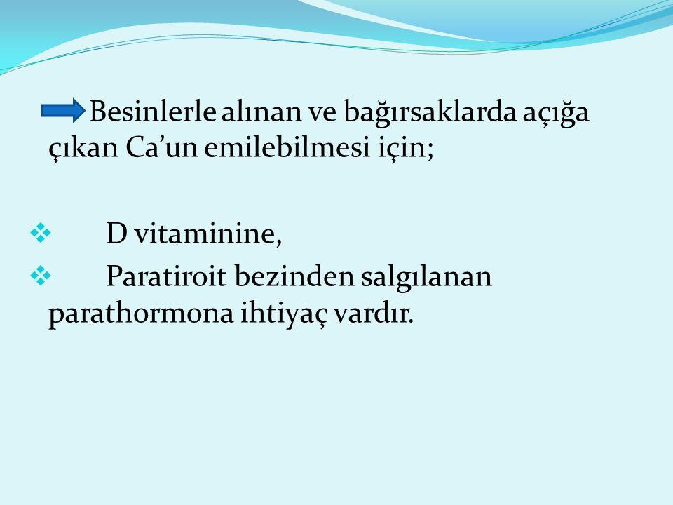 Besinlerle alınan ve bağırsaklarda açığa çıkan Ca'un emilebilmesi için;  D vitaminine,  Paratiroit bezinden salgılanan parathormona ihtiyaç vardır.