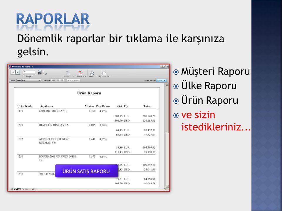 Dönemlik raporlar bir tıklama ile karşınıza gelsin.  Müşteri Raporu  Ülke Raporu  Ürün Raporu  ve sizin istedikleriniz...