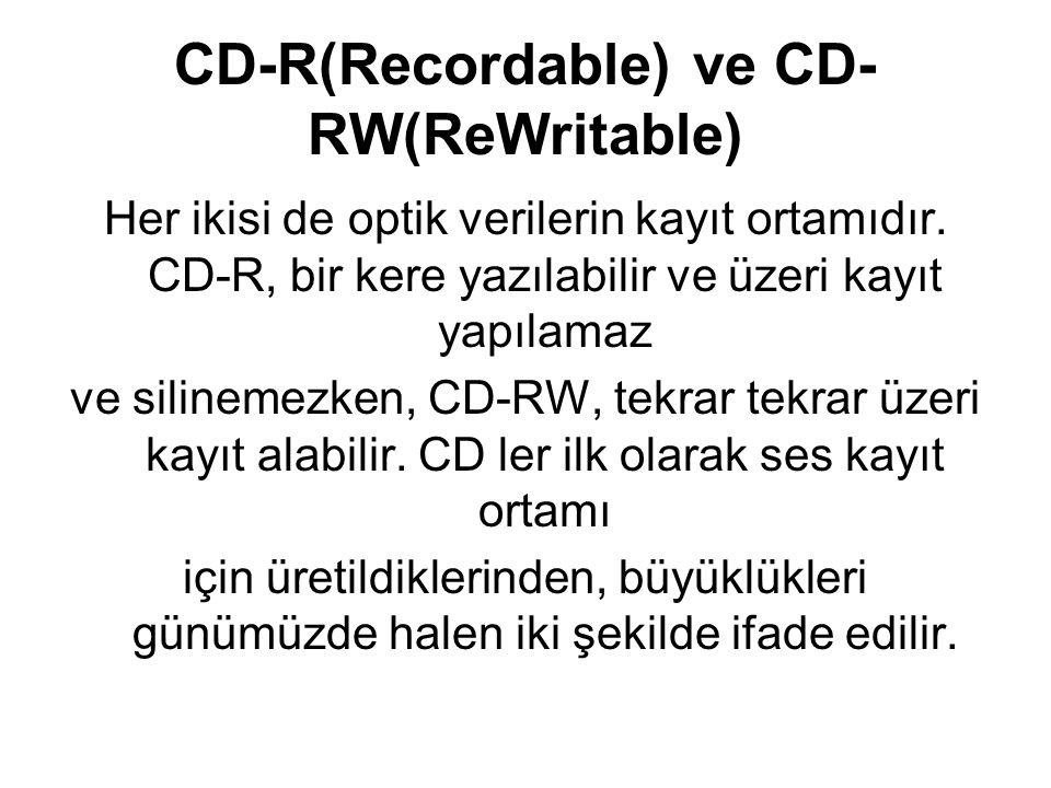 Günümüzde en çok kullanılan CD-R ler ve CD,RWler 700MB kapasitesine sahiptir.