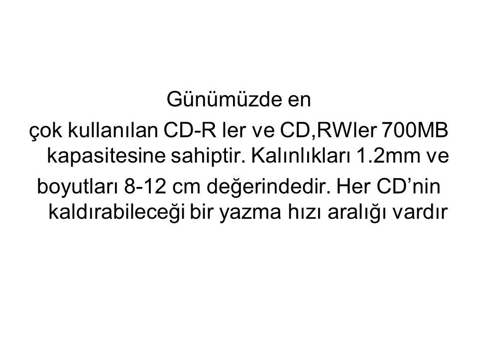 DVD çeşitleri için kapasite değerleri Tek katman Çift Katman Boyut Kapasite(GB) Kapasite(GB) 12 cm, Tek yüz 4.7 8.5 12 cm, Çift yüz 9.4 17.1 8 cm, Tek yüz 1.4 2.6 8 cm, Çift yüz 2.8 5.2