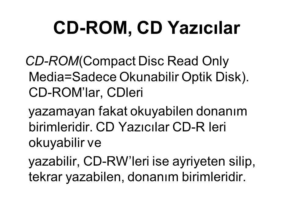 DVD-ROM, DVD yazıcı ve Blu- Ray Yazıcı Parametreleri Yazma ve Okuma hızı: DVD-ROM veya DVD Writerın okuma yazma hızları performansını gösterir.
