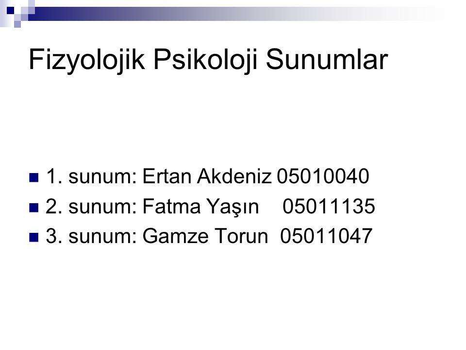 Fizyolojik Psikoloji Sunumlar 1. sunum: Ertan Akdeniz 05010040 2. sunum: Fatma Yaşın 05011135 3. sunum: Gamze Torun 05011047