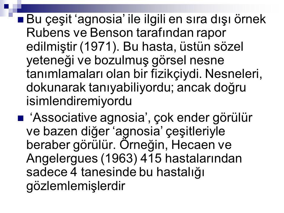 Bu çeşit 'agnosia' ile ilgili en sıra dışı örnek Rubens ve Benson tarafından rapor edilmiştir (1971). Bu hasta, üstün sözel yeteneği ve bozulmuş görse
