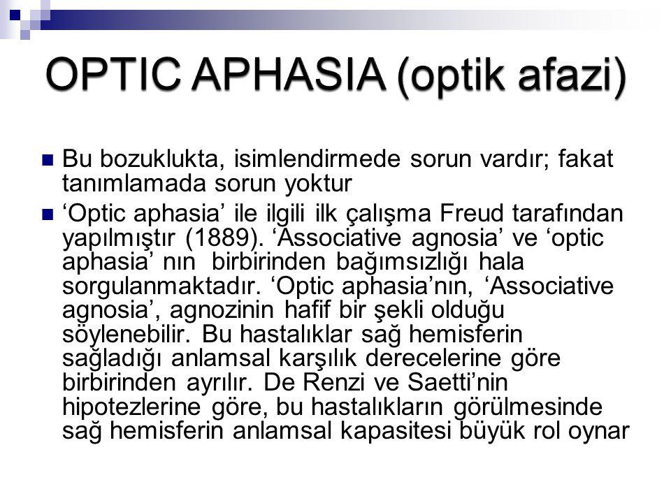 Bu bozuklukta, isimlendirmede sorun vardır; fakat tanımlamada sorun yoktur 'Optic aphasia' ile ilgili ilk çalışma Freud tarafından yapılmıştır (1889).
