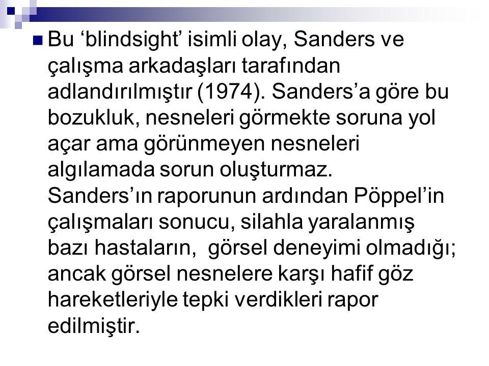 Bu 'blindsight' isimli olay, Sanders ve çalışma arkadaşları tarafından adlandırılmıştır (1974). Sanders'a göre bu bozukluk, nesneleri görmekte soruna