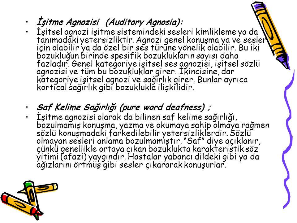 İşitme Agnozisi (Auditory Agnosia): İşitsel agnozi işitme sistemindeki sesleri kimlikleme ya da tanımadaki yetersizliktir. Agnozi genel konuşma ya ve