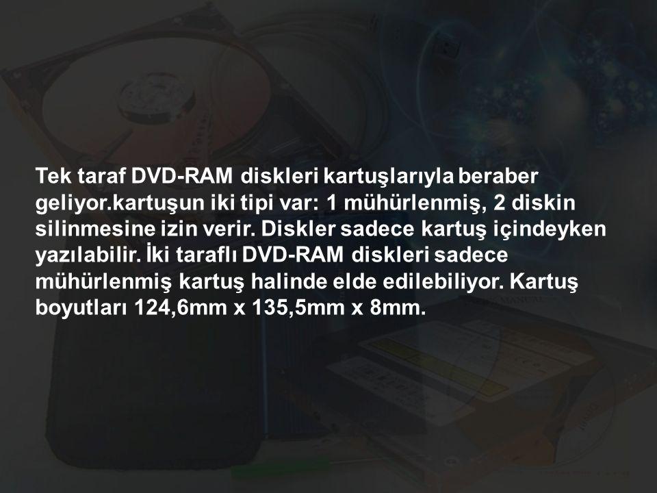 Tek taraf DVD-RAM diskleri kartuşlarıyla beraber geliyor.kartuşun iki tipi var: 1 mühürlenmiş, 2 diskin silinmesine izin verir. Diskler sadece kartuş