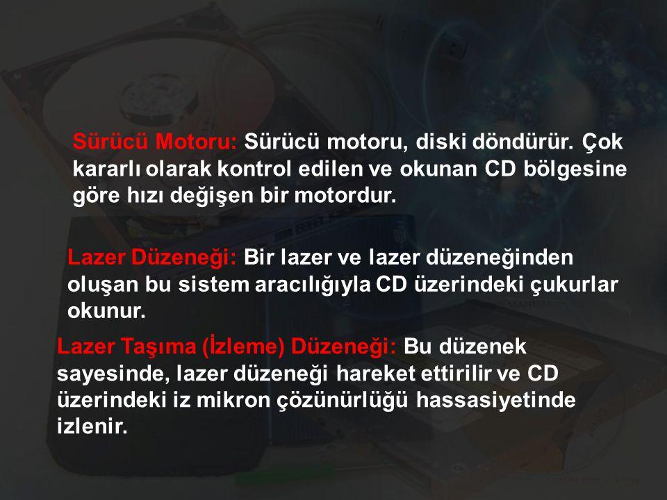 Sürücü Motoru: Sürücü motoru, diski döndürür. Çok kararlı olarak kontrol edilen ve okunan CD bölgesine göre hızı değişen bir motordur. Lazer Düzeneği: