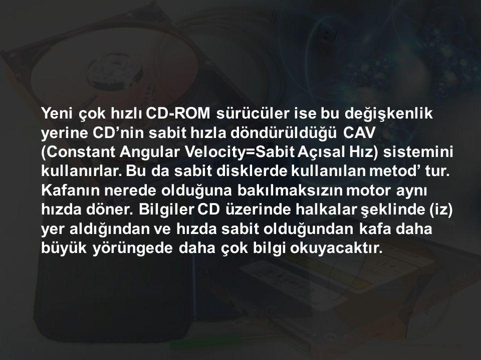 Yeni çok hızlı CD-ROM sürücüler ise bu değişkenlik yerine CD'nin sabit hızla döndürüldüğü CAV (Constant Angular Velocity=Sabit Açısal Hız) sistemini kullanırlar.