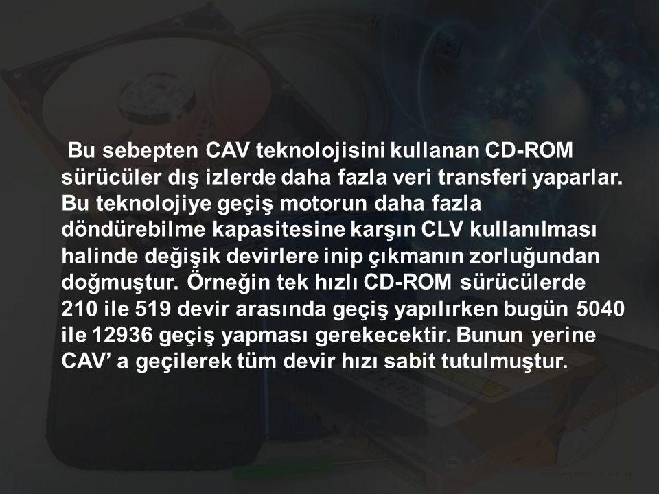 Bu sebepten CAV teknolojisini kullanan CD-ROM sürücüler dış izlerde daha fazla veri transferi yaparlar. Bu teknolojiye geçiş motorun daha fazla döndür