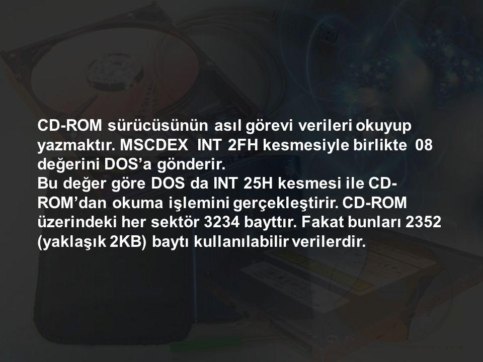 CD-ROM sürücüsünün asıl görevi verileri okuyup yazmaktır. MSCDEX INT 2FH kesmesiyle birlikte 08 değerini DOS'a gönderir. Bu değer göre DOS da INT 25H
