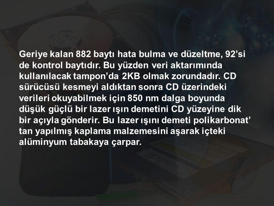 Geriye kalan 882 baytı hata bulma ve düzeltme, 92'si de kontrol baytıdır. Bu yüzden veri aktarımında kullanılacak tampon'da 2KB olmak zorundadır. CD s