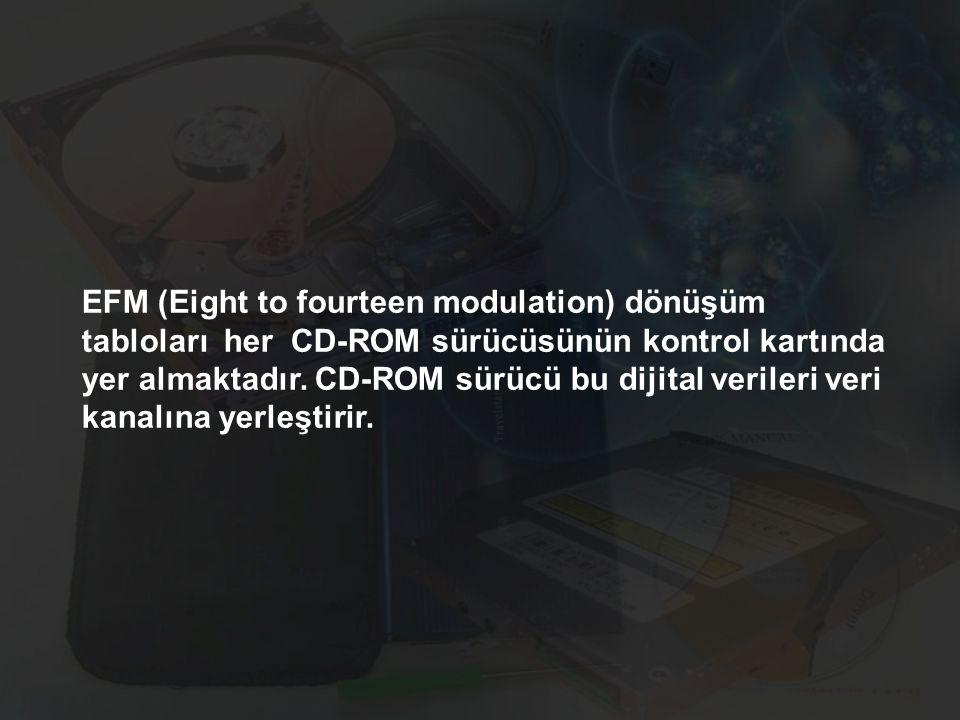 EFM (Eight to fourteen modulation) dönüşüm tabloları her CD-ROM sürücüsünün kontrol kartında yer almaktadır. CD-ROM sürücü bu dijital verileri veri ka