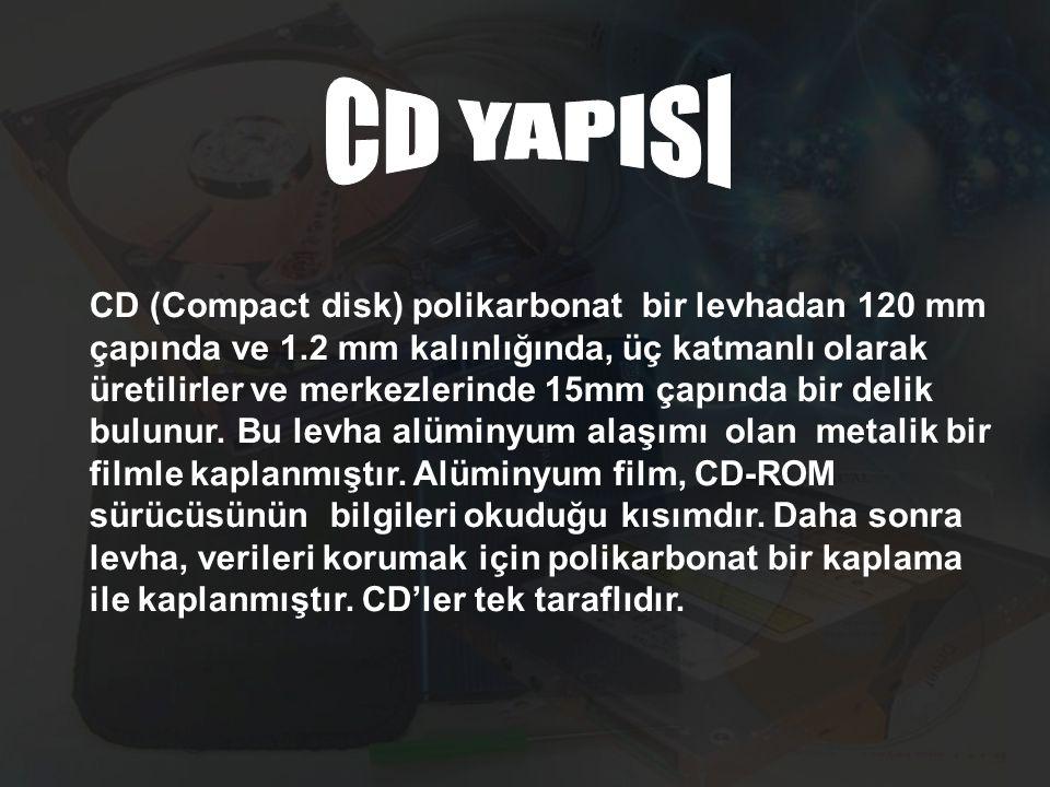 CD (Compact disk) polikarbonat bir levhadan 120 mm çapında ve 1.2 mm kalınlığında, üç katmanlı olarak üretilirler ve merkezlerinde 15mm çapında bir de