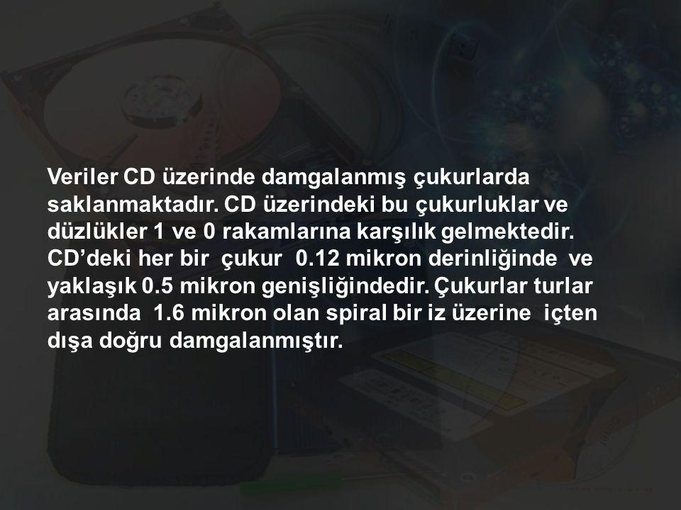 Veriler CD üzerinde damgalanmış çukurlarda saklanmaktadır. CD üzerindeki bu çukurluklar ve düzlükler 1 ve 0 rakamlarına karşılık gelmektedir. CD'deki