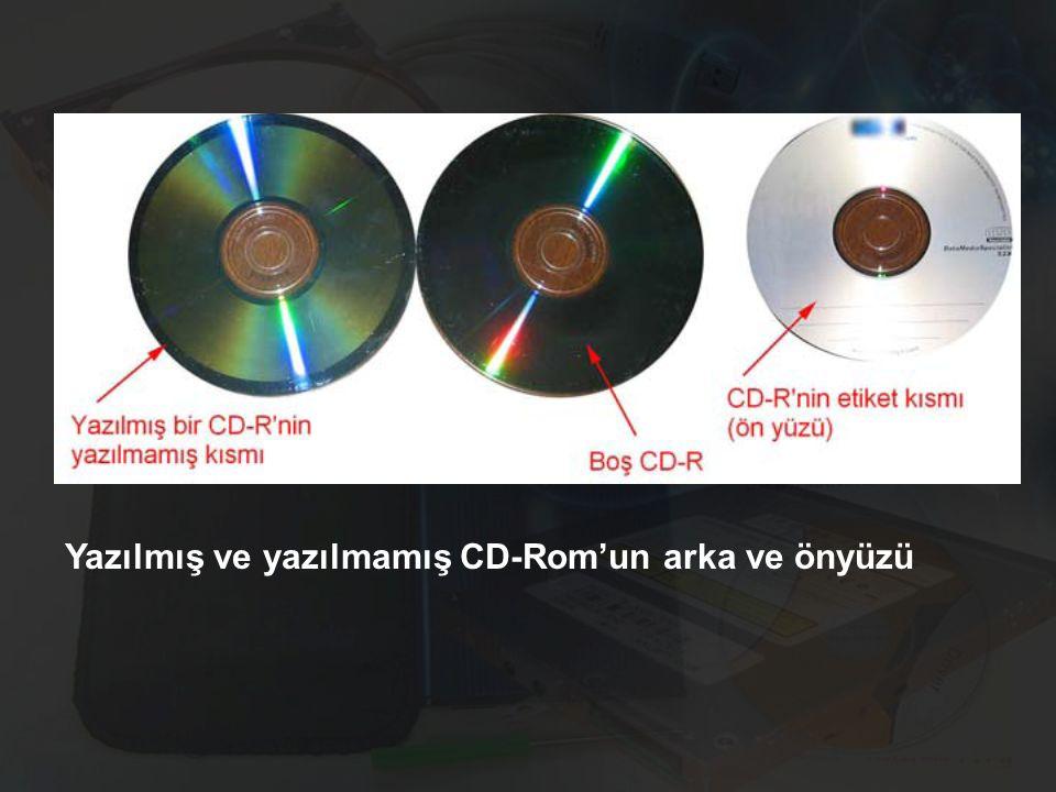 Yazılmış ve yazılmamış CD-Rom'un arka ve önyüzü