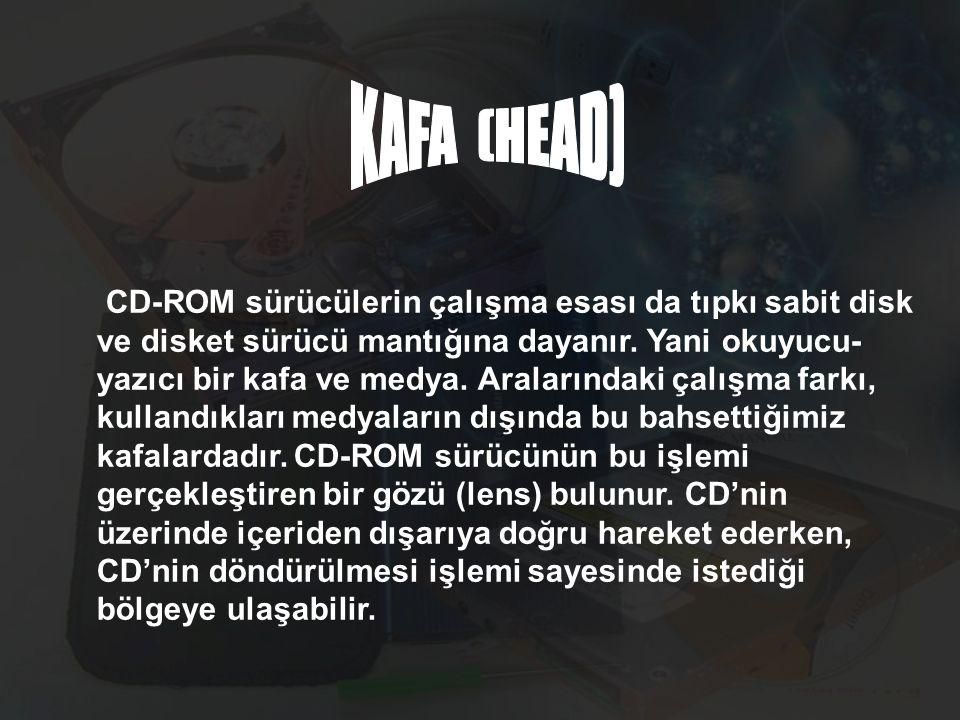 CD-ROM sürücülerin çalışma esası da tıpkı sabit disk ve disket sürücü mantığına dayanır. Yani okuyucu- yazıcı bir kafa ve medya. Aralarındaki çalışma