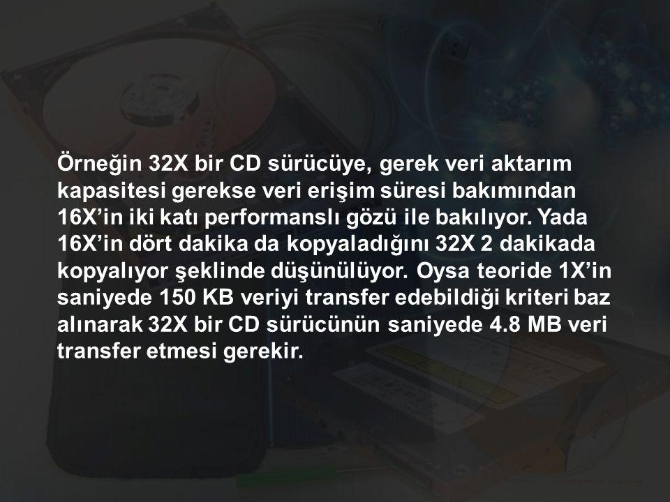 Örneğin 32X bir CD sürücüye, gerek veri aktarım kapasitesi gerekse veri erişim süresi bakımından 16X'in iki katı performanslı gözü ile bakılıyor. Yada