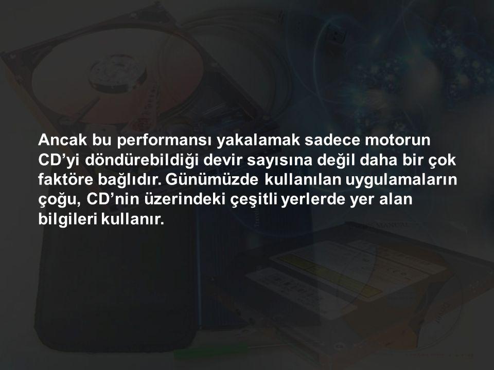 Ancak bu performansı yakalamak sadece motorun CD'yi döndürebildiği devir sayısına değil daha bir çok faktöre bağlıdır. Günümüzde kullanılan uygulamala