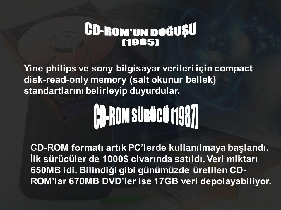 Yine philips ve sony bilgisayar verileri için compact disk-read-only memory (salt okunur bellek) standartlarını belirleyip duyurdular. CD-ROM formatı