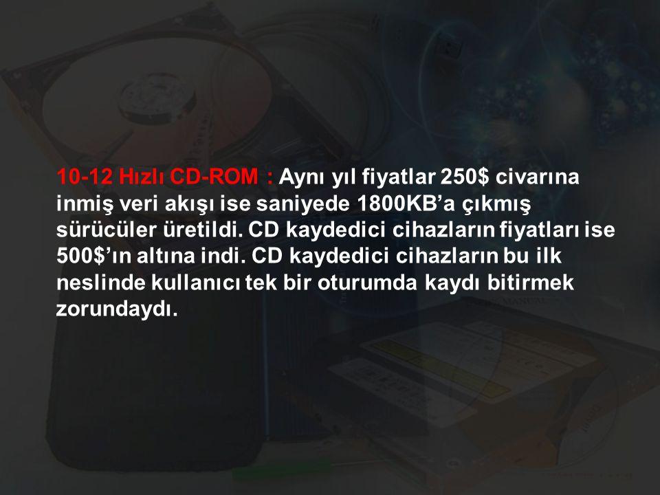 10-12 Hızlı CD-ROM : Aynı yıl fiyatlar 250$ civarına inmiş veri akışı ise saniyede 1800KB'a çıkmış sürücüler üretildi. CD kaydedici cihazların fiyatla