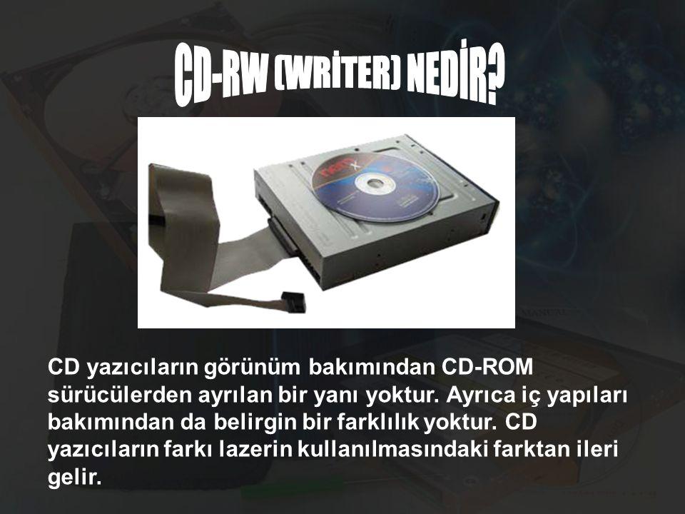 CD yazıcıların görünüm bakımından CD-ROM sürücülerden ayrılan bir yanı yoktur. Ayrıca iç yapıları bakımından da belirgin bir farklılık yoktur. CD yazı