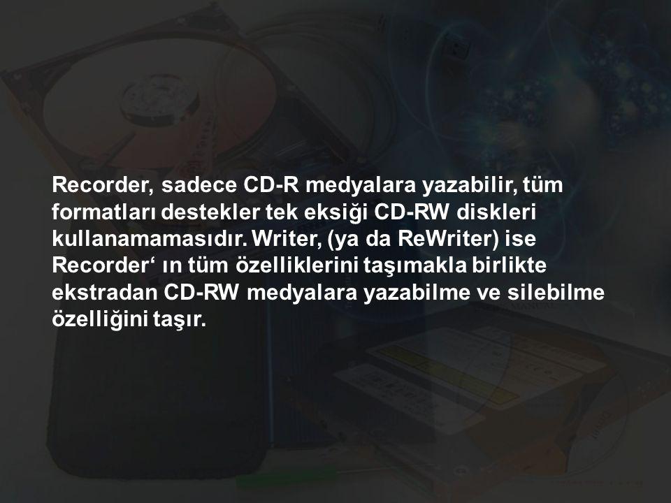 Recorder, sadece CD-R medyalara yazabilir, tüm formatları destekler tek eksiği CD-RW diskleri kullanamamasıdır. Writer, (ya da ReWriter) ise Recorder'