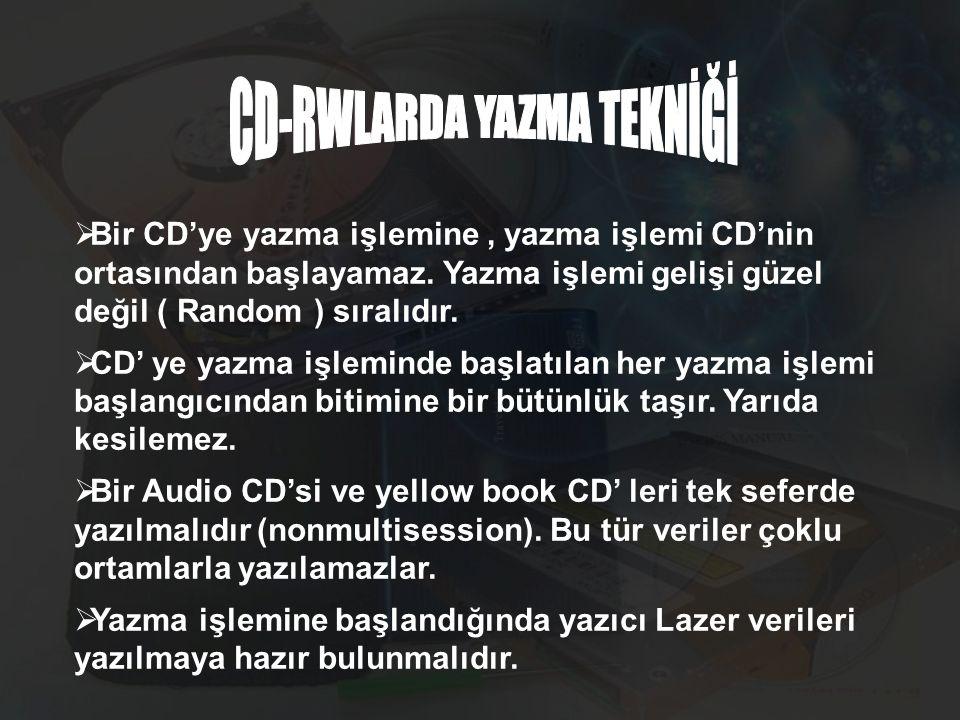  Bir CD'ye yazma işlemine, yazma işlemi CD'nin ortasından başlayamaz. Yazma işlemi gelişi güzel değil ( Random ) sıralıdır.  CD' ye yazma işleminde